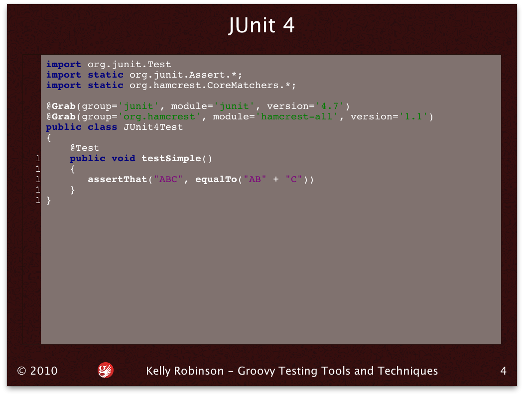 Code slide with JUnit4 and Hamcrest matcher example